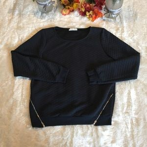 Comme Toi Navy Quilted Sweatshirt Size Small